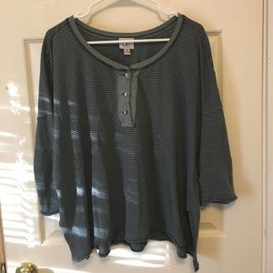 Striped Henley Style Shirt from Anthropologie